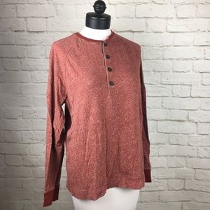 Banana Republic Red Heather Henley size L